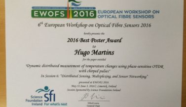 Best Poster Award to Hugo Martins